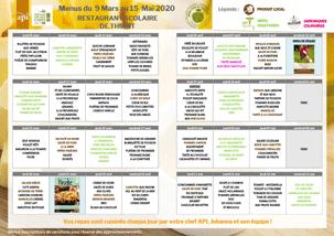 Le menu de la restauration scolaire du 9 mars au 15 mai 2020