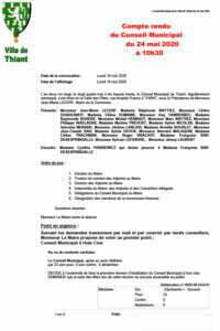 Version PDF du compte rendu du conseil municipal du 24 mai 2020 de la commune de Thiant