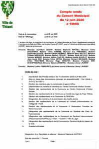 Version PDF du compte rendu du conseil municipal du 12 juin 2020 de la commune de Thiant