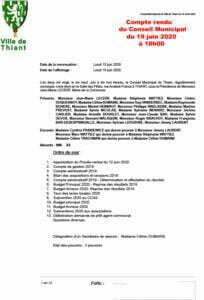Compte rendu du Conseil Municipal du 19 juin 2020 en version PDF